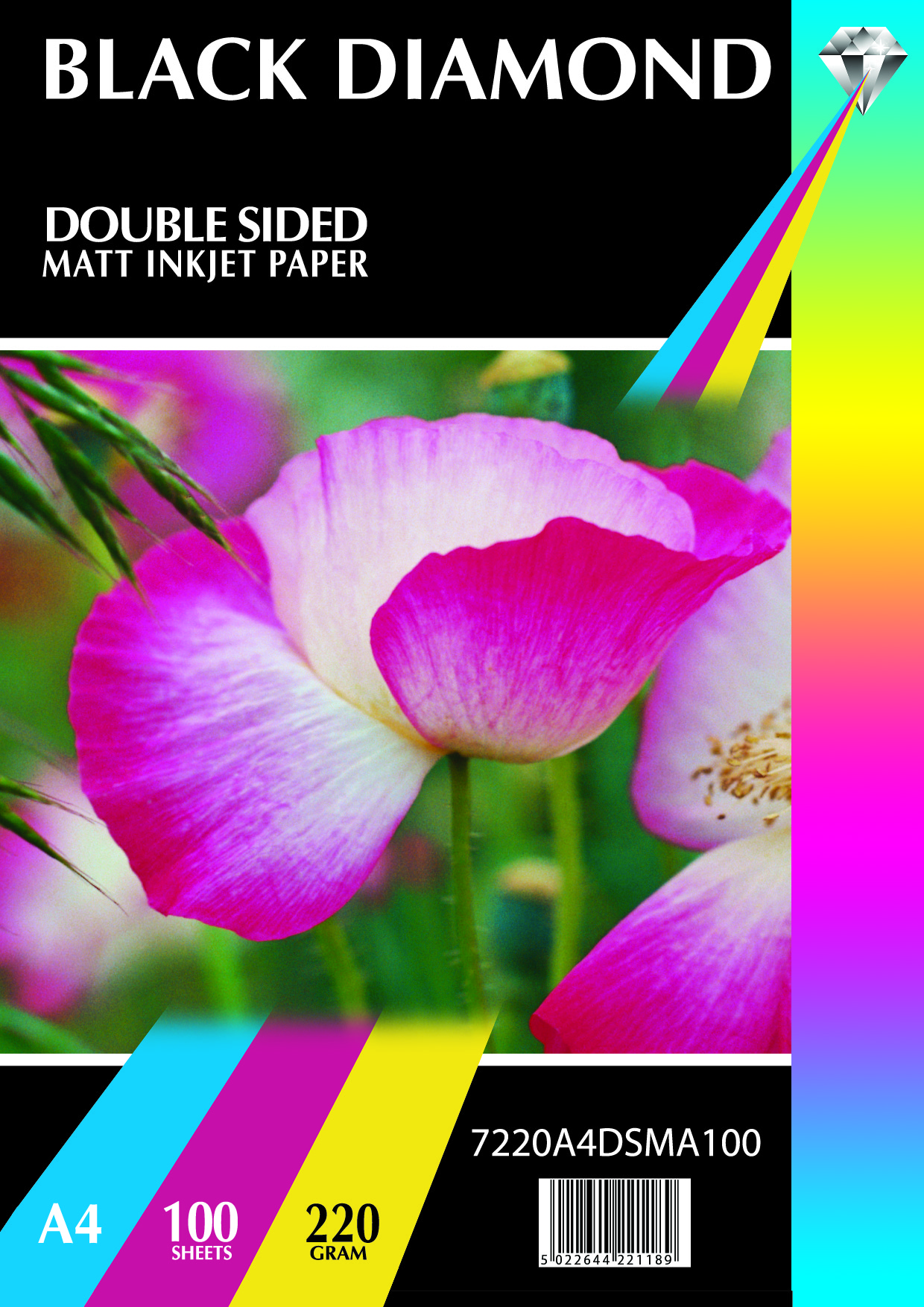 20, 40, 100 Sheets A4 155gsm Black Diamond Double Sided Gloss Paper