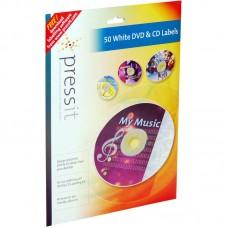 A4 Pressit Compatible White DVD & CD Labels