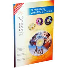 A4 Pressit Compatible Photo Glossy White DVD & CD Labels