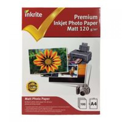 Inkrite A4 120gsm Single Sided Matte Matt Inkjet Photo