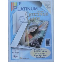 Platinum 10 Pack A4 Greeting Cards with Envelopes