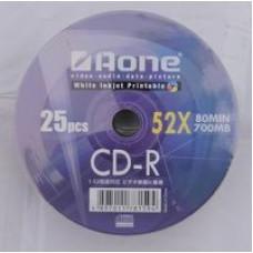 Aone White Inkjet Printable CD-R 52x Blank Discs 700MB CDR